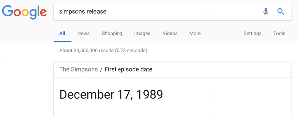 The Simpsons' first episode release date featured Google snippet