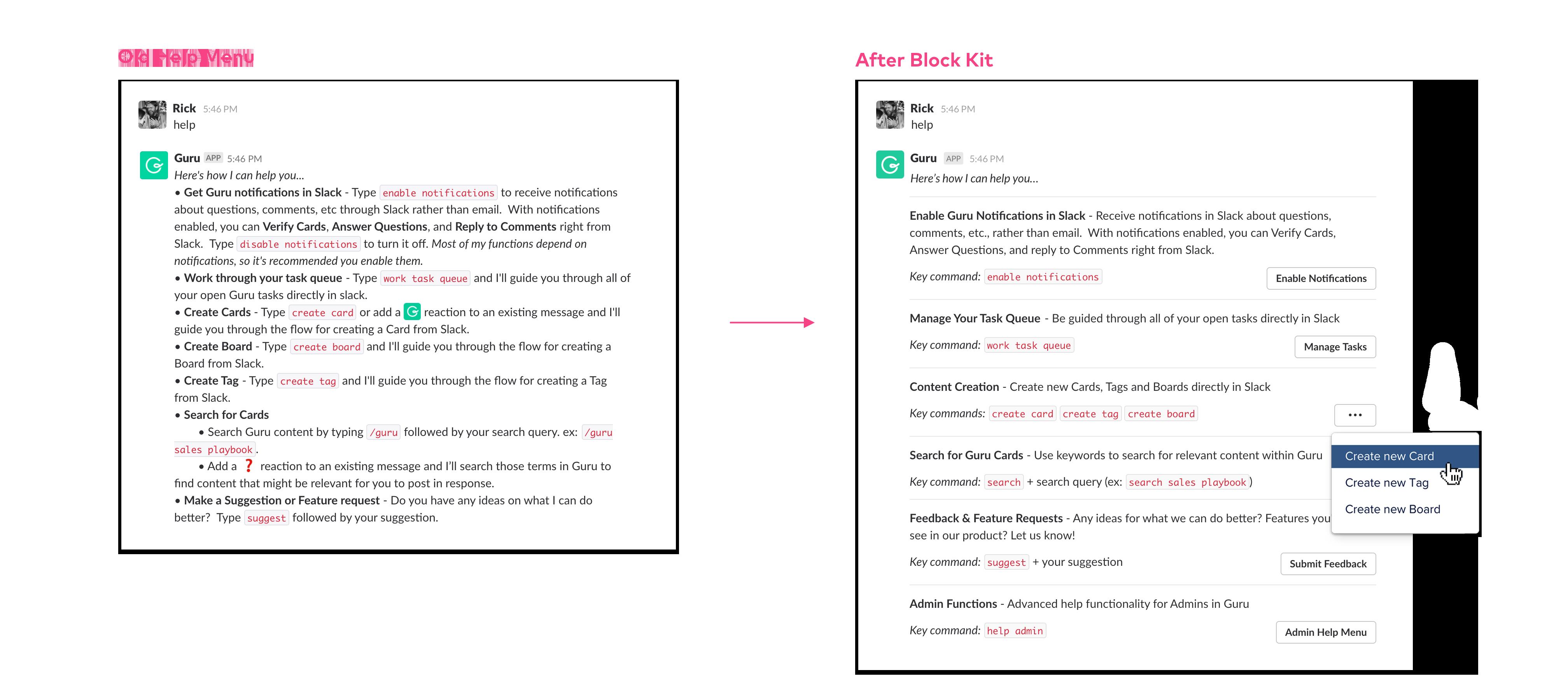 The Guru Slack bot before and after using the Slack Block Kit