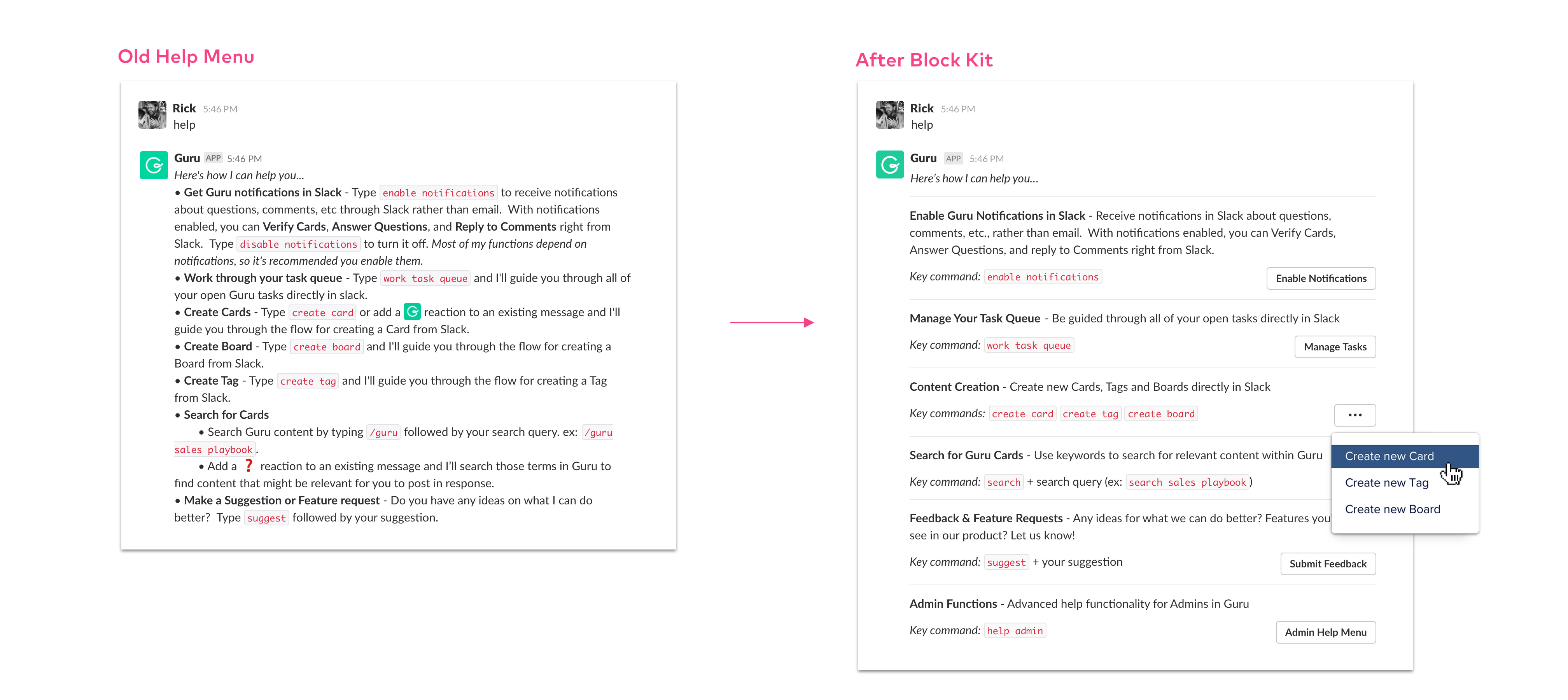 The Guru Slack bot before and after using the Slack Block Kit