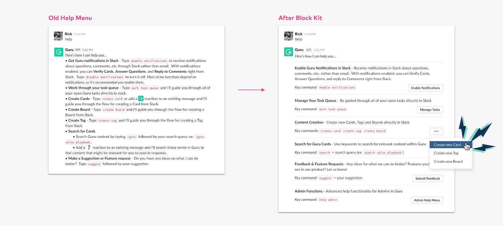 Guru help menu in Slack