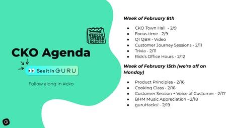 Virtual event agenda