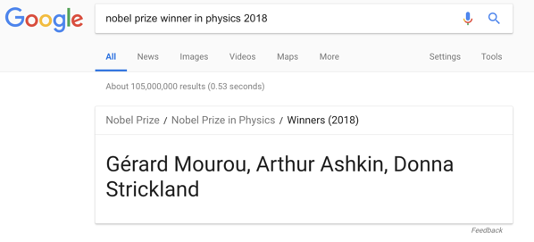 Google Featured Snippet: 2018 Nobel Prize Laureates in Physics