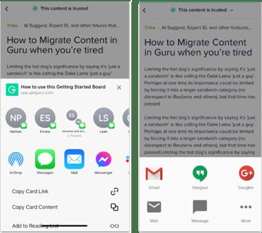 Updates to sharing in Guru's mobile apps