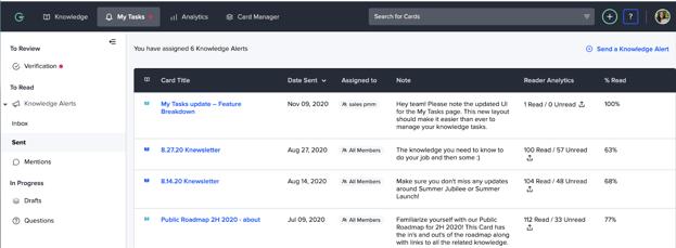 Updates to My Tasks interface in Guru