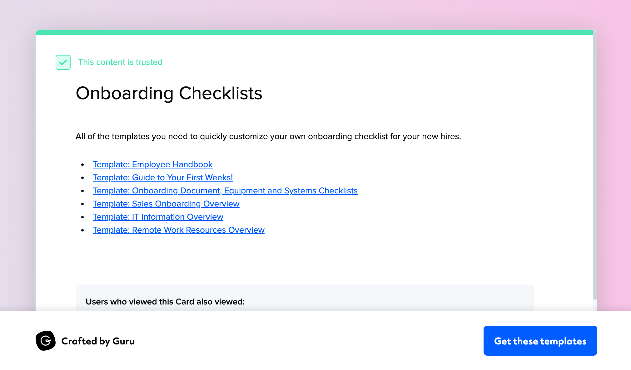 Onboarding Checklists and Templates