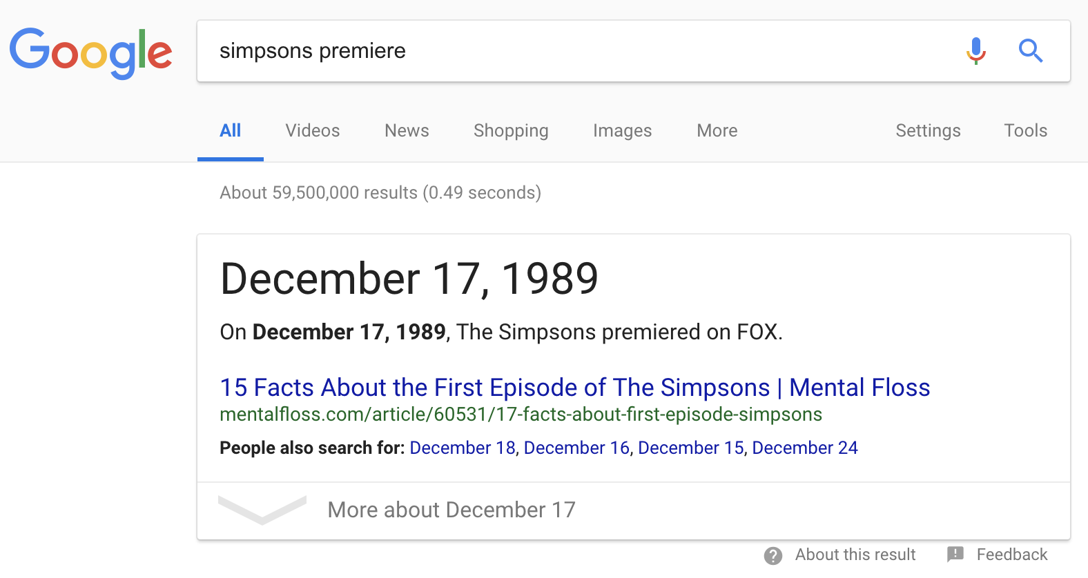 The Simpsons' first episode premiere date featured Google snippet