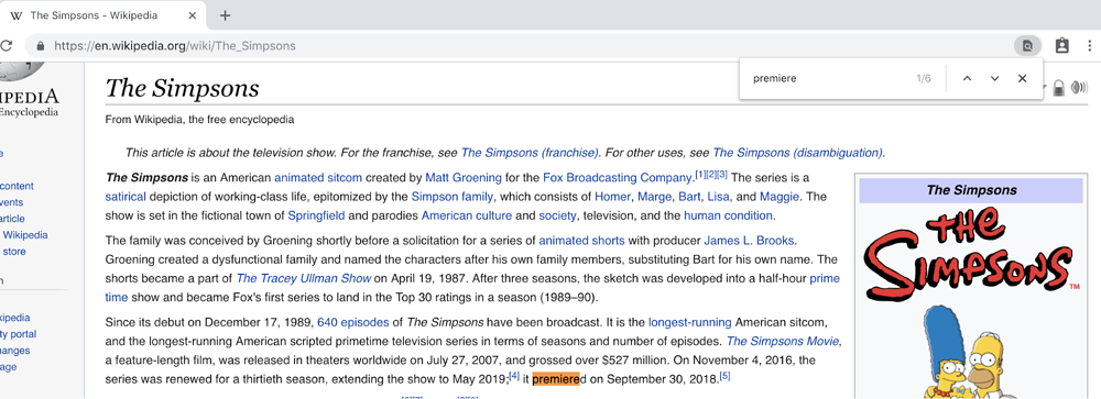 Full Wikipedia article on The Simpsons